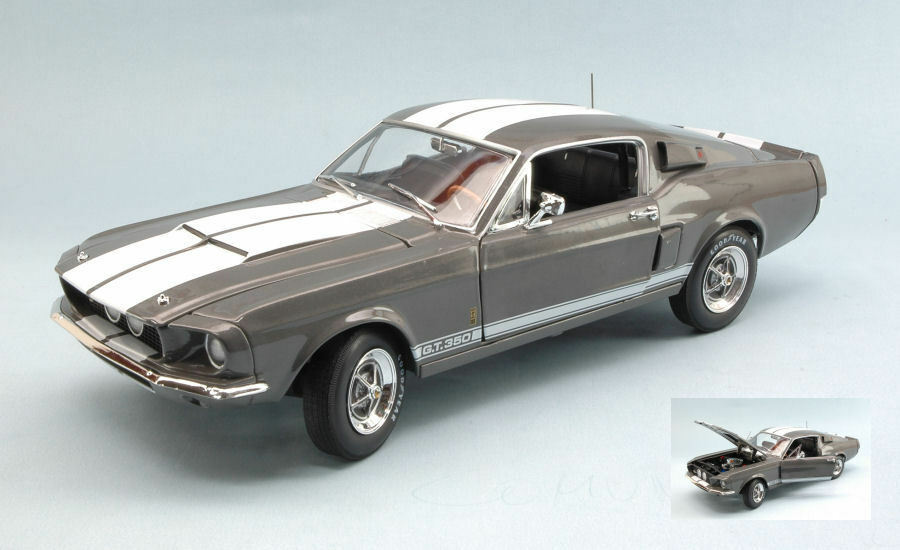 Shelby Mustang Gt-350 1967 Mouse-grigio W bianca Stripes 1 18 Model AUTO WORLD