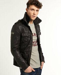 Image is loading New-Mens-Superdry-Brad-Hero-Leather-Jacket-Brown 90101a2c9413