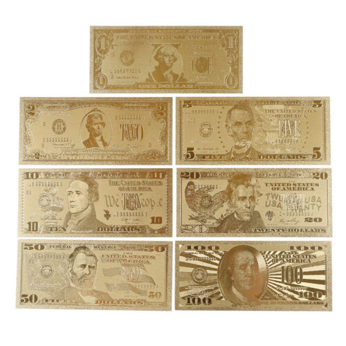 7Pcs gold foil banknote USA 1 dollar bill currency paper money metal plated GY