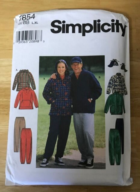 mens /& womens jacket top pants hat size XS-M Simplicity 7854 sewing pattern