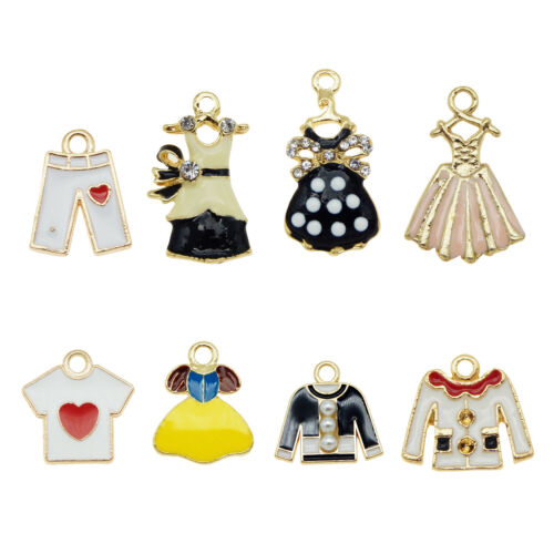 16PCS//lot Mixed Assorted Clothes Dress Enamel Plated Charms Pendant DIY Findings