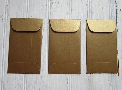 100 Metallic Antique Gold Card Envelope Mini Gift Enclosure, Bulk Coin Envelopes