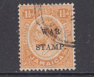 "Jamaica Sc MR8 used. 1917 1½p orange KGV, ""Broken M"" overprint variety"