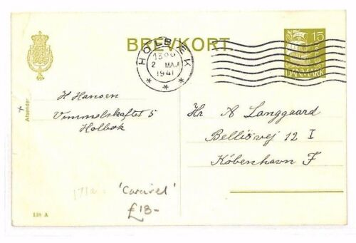 BF174 1941 WW2 DENMARK Holbæk GERMAN OCCUPATION Postcard Caravel