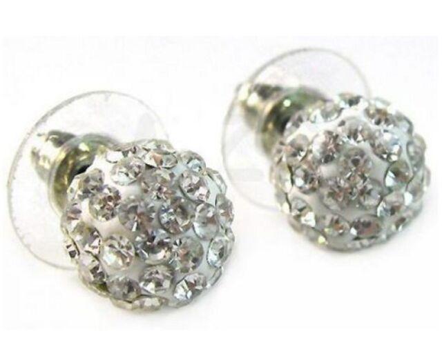 18K White Gold GP Clear Shamballa Crystal Ball Stud Earrings E110