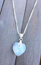 Kristall Schmuck Kette Silber mit Swarovski Elements Herz White Opal Weiss