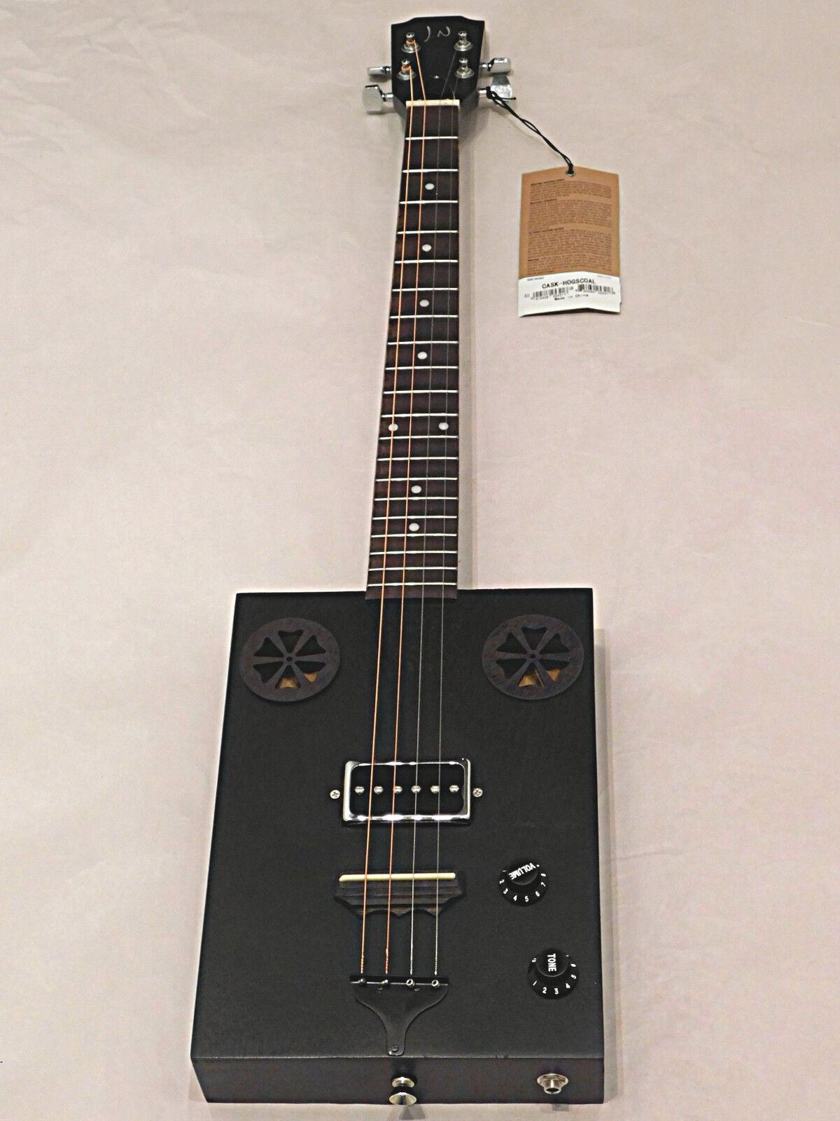 James Neligan CASK HogsCoal 4 string Acoustic Electric p-90 Cigar Box Guitar BLK