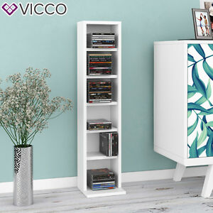 vicco cd regal dvd st nder wei wandregal h ngeregal b cherregal b roregal ebay. Black Bedroom Furniture Sets. Home Design Ideas
