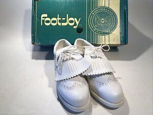 Footjoy Greenjoy Vintage Ladies / Womens Golf Shoes White W/ Spikes Original Box