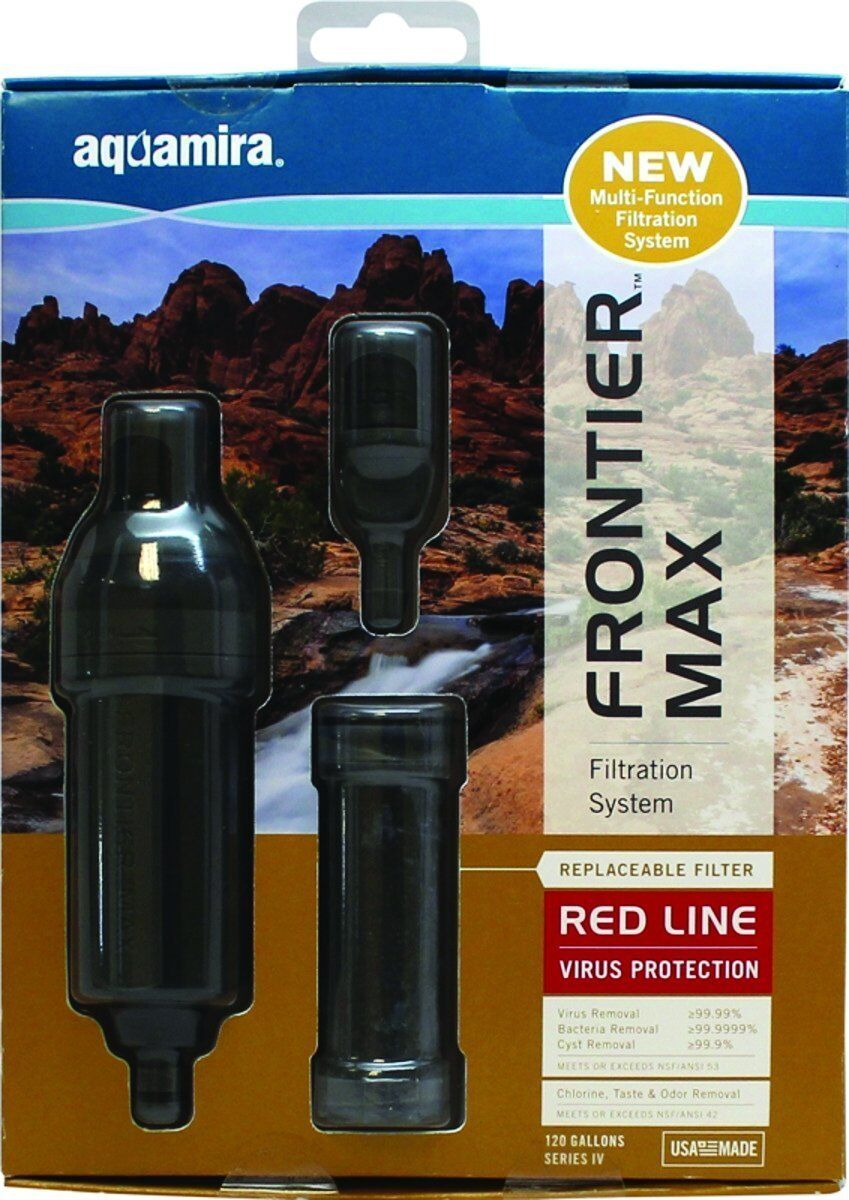 Aquamira Frontier Max Filtration System   IV RED Line water filter IAPMO EPA