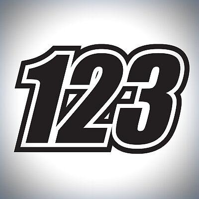 Details about  /3 x Custom Race Numbers Vinyl Stickers Dirt Bike Motocross Bike Trials Decals