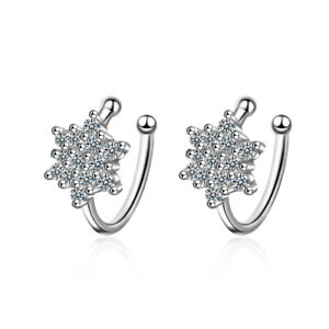 Solid-925-Sterling-Silver-Crystal-Snowflake-Ear-Clip-Cuff-Earrings-Non-Piercing