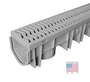 Source 1 drainage trench driveway channel drain with grate for Landscape channel drain