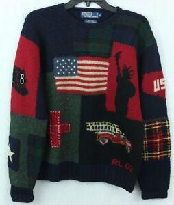 2a8e1adff POLO Ralph Lauren VTG M Wool Hand Knit Sweater UNIQUE Liberty USA ...