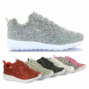 Womens Pink Lace Up Glitter Sports Style Trainers  Gym Shoes Pumps Size UK 7