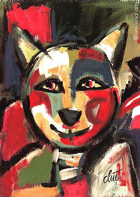 JACQUELINE DITT - Der Fröhliche Kater A2 gross DRUCK Bild Katze Kunst Bild