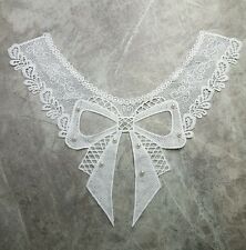 EMBROIDERED LACE BOW WHITE NECK COLLAR 30x40CM CRAFT SEW ON APPLIQUE WITH PEARLS