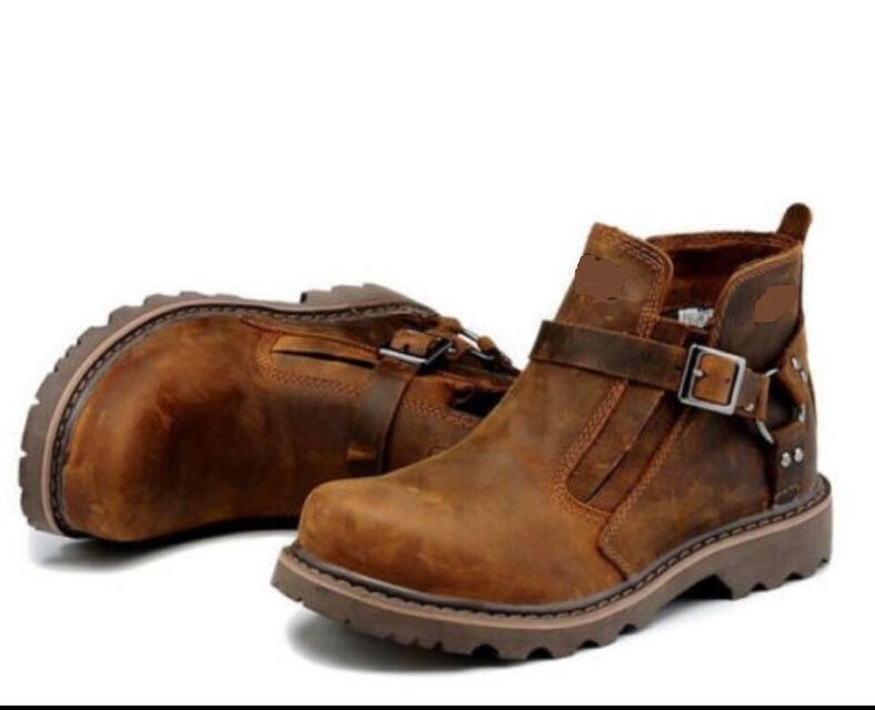 Retro Romano para Hombre de Cuero Hebilla De Combate Senderismo Trabajo Puntera rojoonda botas al Tobillo Calzado