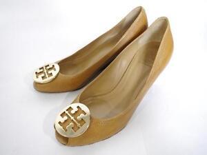 cddb9ca1894 Tory Burch Sally 2 Peep Toe Leather Wedge Pump Size 10 Tan Gold