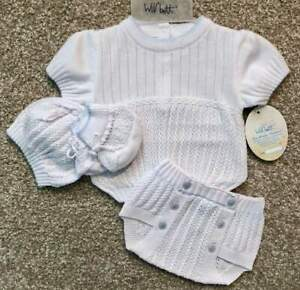 Will-039-beth-Precious-Newborn-Baby-Boy-Knit-Set-Booties-Hat-Sz-0-Take-me-Home