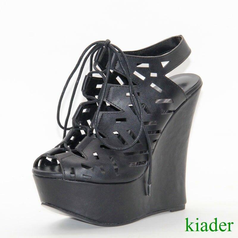 Sandalias de mujer con tacón de cuña cuña cuña muy alto Peep Toes Zapatos Zapatos Bombas de corte hueco  contador genuino