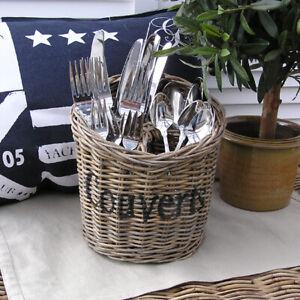 Rattan-Besteckkorb-Organizer-Besteck-Deko-Sylt-Vintage-Landhaus-Sylt-Maison-neu