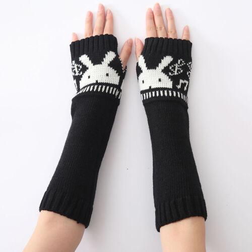 Women Gloves with Knit Half Finger Winter Warm Fingerless Gloves Mittens Outdoor