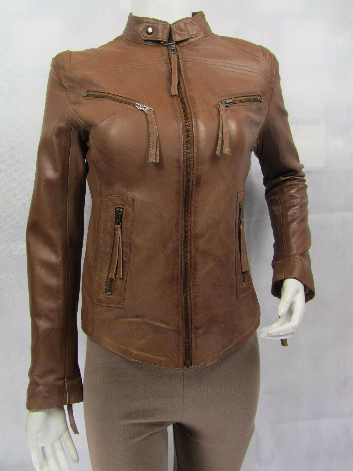 Ladies Cognac Brown Napa Leather Slim Tight Fitted Short Biker Jacket Bike