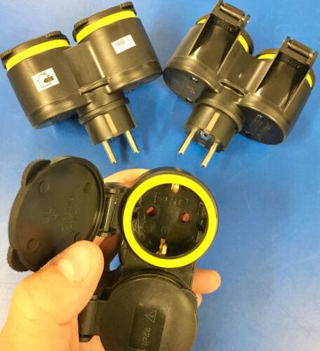 GUMMI 2er Steckdose Schuko Adapter 4,99€//Stk Schukostecker STECKER Verteiler XX
