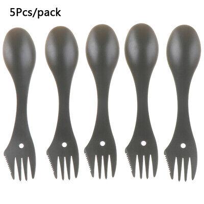 6X\set Plastic Spork Spoon Fork Outdoor Camping Hiking Travel Cutl UKYQ~