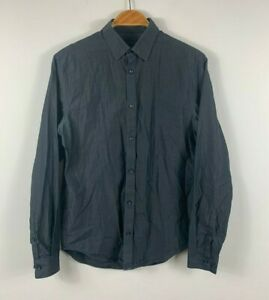 Country-Road-Mens-Button-Up-Shirt-Size-XS-Dark-Grey-Long-Sleeve-Business-Casual