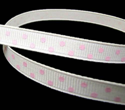 "5 Yd Ivory Pink Polka Dot Grosgrain Ribbon 3//8/""W"