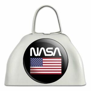 La Nasa Official Ver Logo United States Usa Drapeau Blanc Sonnaille Vache Bell Instrument-afficher Le Titre D'origine