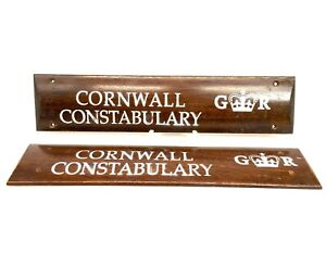 Antique Advertising - Cornwall Constabulary Police Door Plaques / Sign / c1940