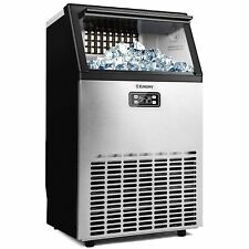 Euhomy Commercial Ice Maker Machine 100lbs24h Stainless Steel Under Counter Ic