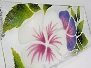 St Luke Hand Crafted Fondue Art Glass Hibiscus BAC 1980 Victor Palumbo EXC!-afficher le titre d`origine L1CXsPTJ-09090457-604110554