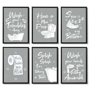 Grey Bathroom Prints Wall Art, Bathroom Pictures Art