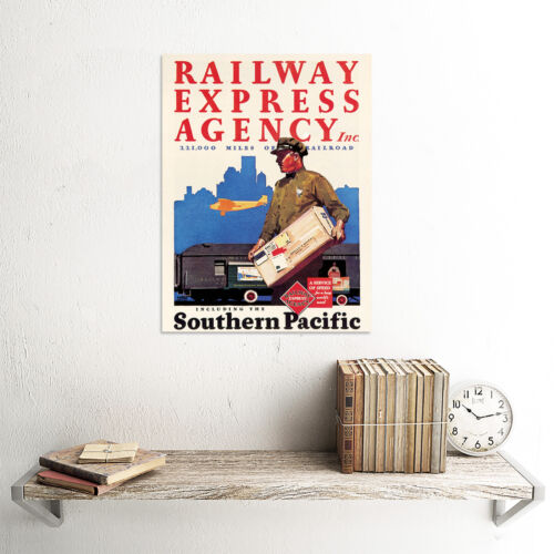 TRAVEL RAILWAY EXPRESS AGENCY POST SERVICE TRAIN PLANE USA ART PRINT CC2201