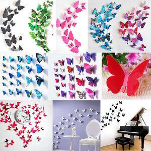 12pcs-Papillon-3D-PVC-Art-Design-Decal-Stickers-Muraux-Foyer-Chambre-Deco-amp