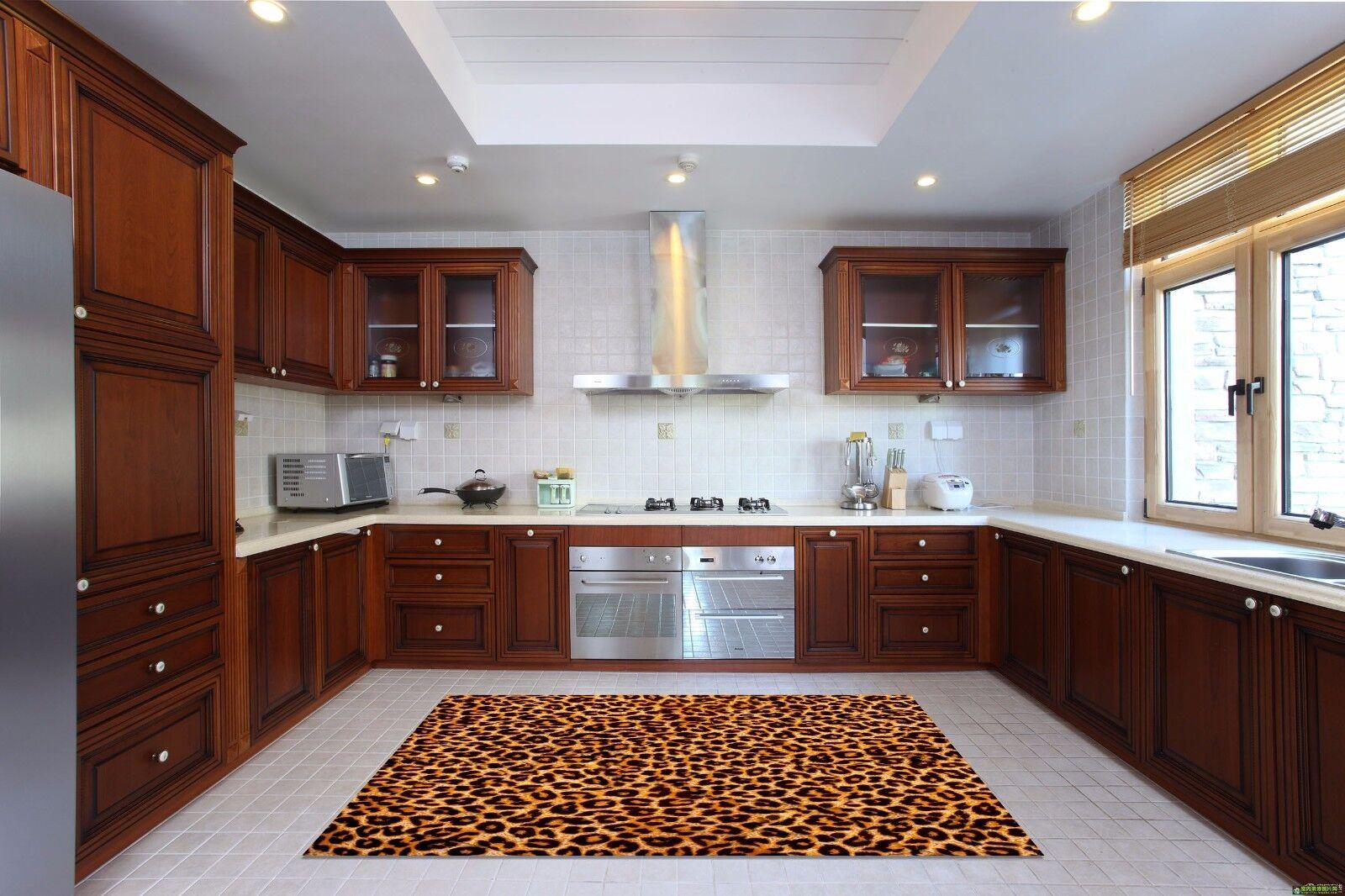 3D golden Leopard 845 Kitchen Mat Floor Murals Wall Print Wall Deco UK Carly