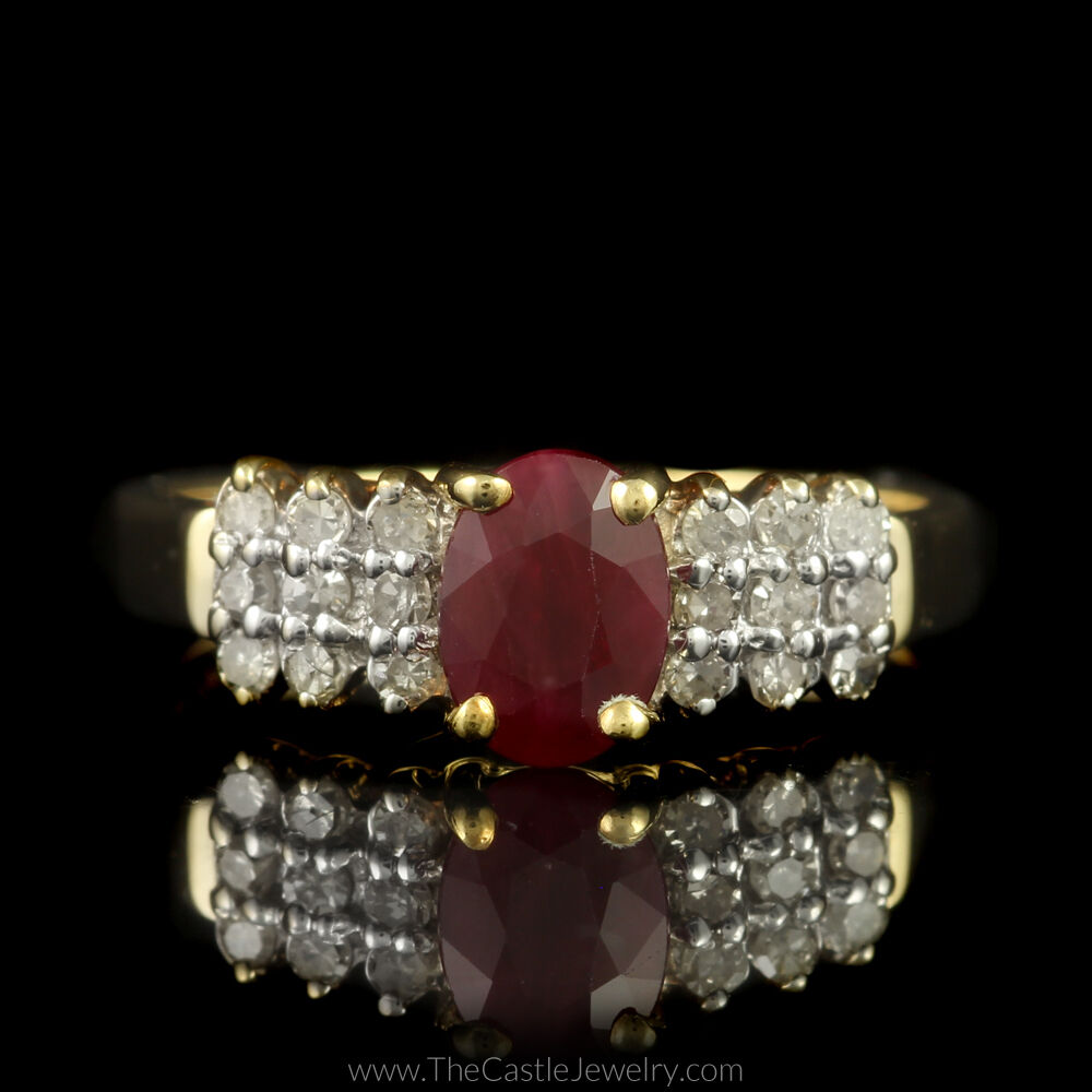 Oval Ruby in gold Yellow 10K Accents Row Triple Diamond