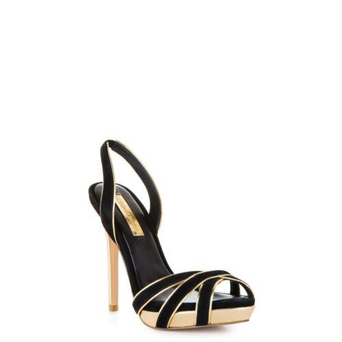 Marilyn détails daim en 8 à Black Maxazria dorés Monroe Escarpins Bcbg et taille 5qxgSHTY