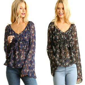 16ce3894f7d19 Details about UMGEE Womens Black Navy Sheer Boho Bohemian Long Bell Sleeve  Top Blouse S M L