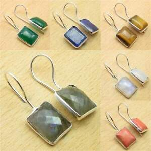 925-Silver-Plated-BLUE-FIRE-LABRADORITE-amp-Other-Gemstone-DELICATE-Earrings