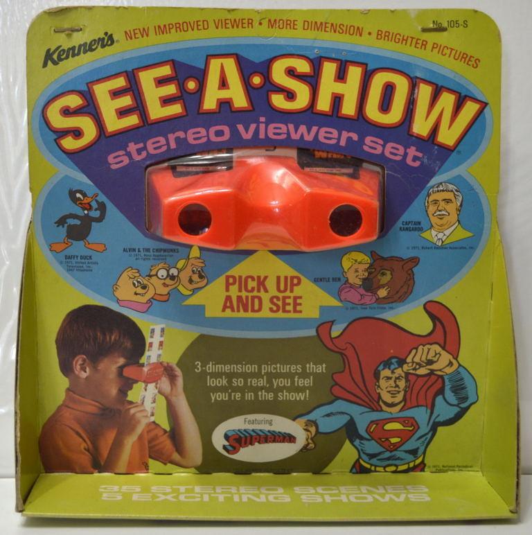 Kenner's SEE-A-SHOW STEREO VIEWER SET featubague SUPERhomme  MOC 1971 RARE Complete  réductions et plus