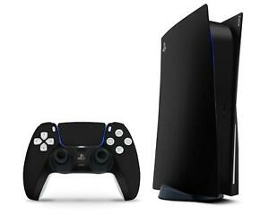 MATTE BLACK VINYL SKIN FOR PS5 DISC VERSION: Decals for Console + 2 Controllers