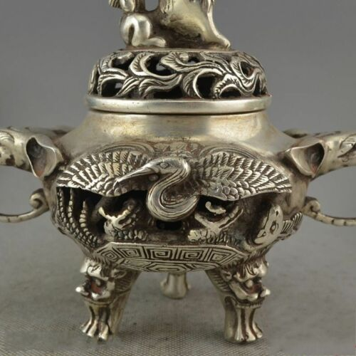Exquisite DECOR OLD HANDWORK MIAO SILVER CARVE CRANE ELEPHANT INCENSE BURNER