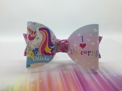 Love Unicorn Hair Bow with Pink Glitter 1 X Personalised Hair Bow ANY NAME