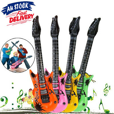 Rock Blow Up Party Holiday Inflatable Guitar Music Instrument  Roll Kids Toy Air