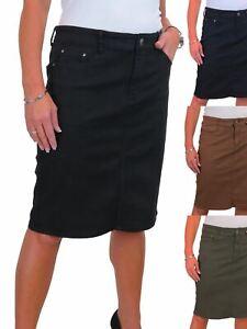 ICE-Womens-Good-Stretch-Jeans-Skirt-Knee-Length-14-22